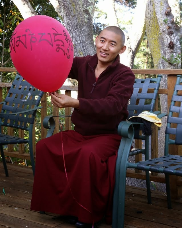 Lama Zopa Rinpoche's attendant Ven. Sangpo and his balloon, Kachoe Dechen Ling, Aptos, California, May 2014. Photo by Ven. Thubten Kunsang.