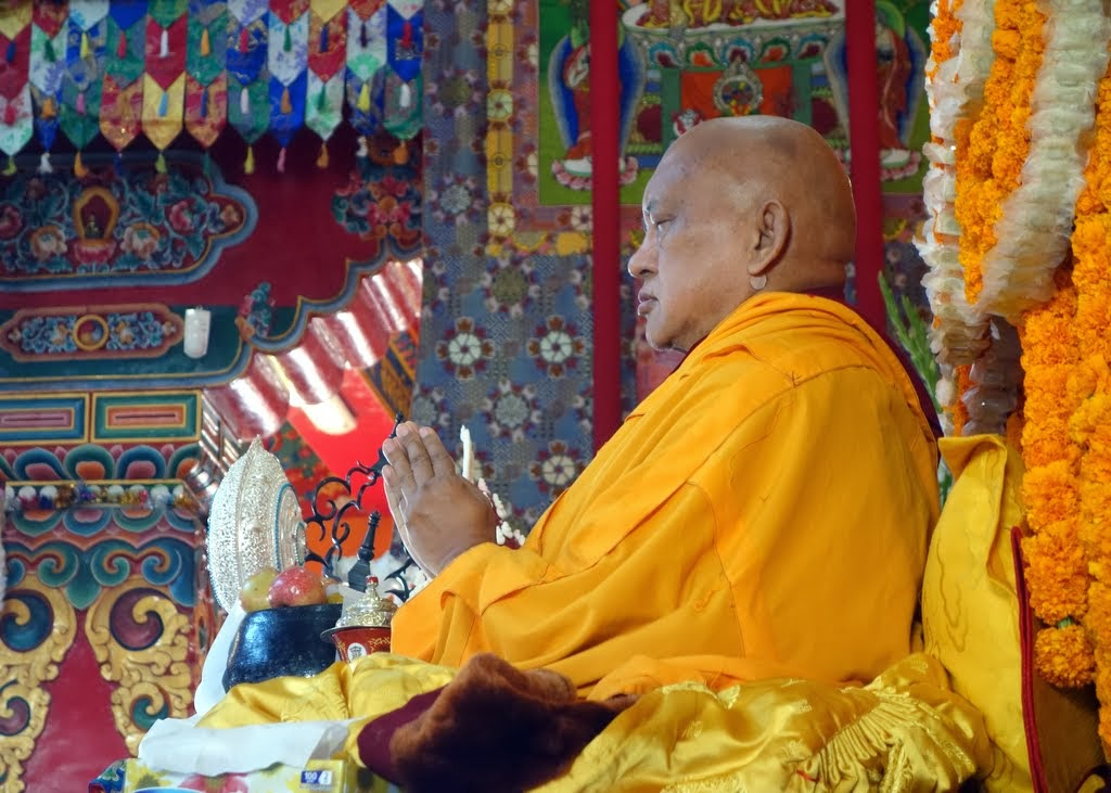 Lama Zopa Rinpoche during long life puja offered to him, Kopan Monastery, Nepal, December 9, 2013. Photo by Ven. Roger Kunsang.