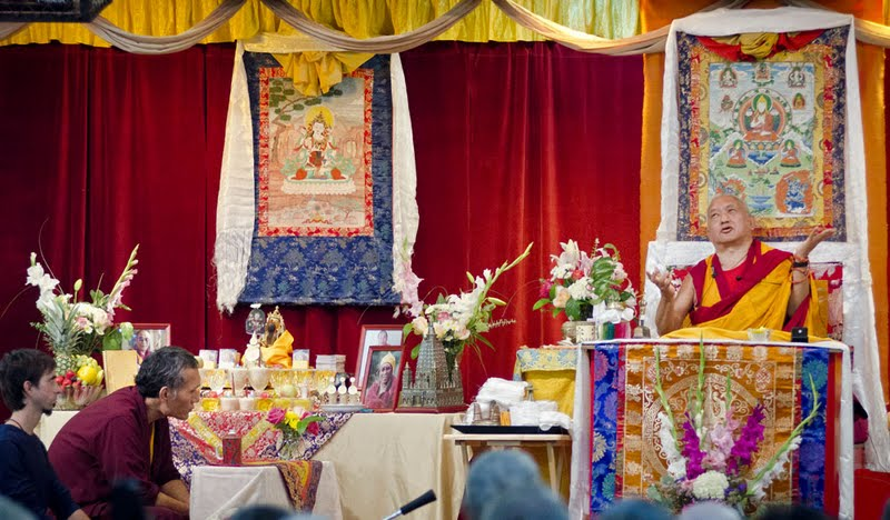 Osel and Yangsi Rinpoche during the Vajrasattva initiation, Boulder Creek, CA