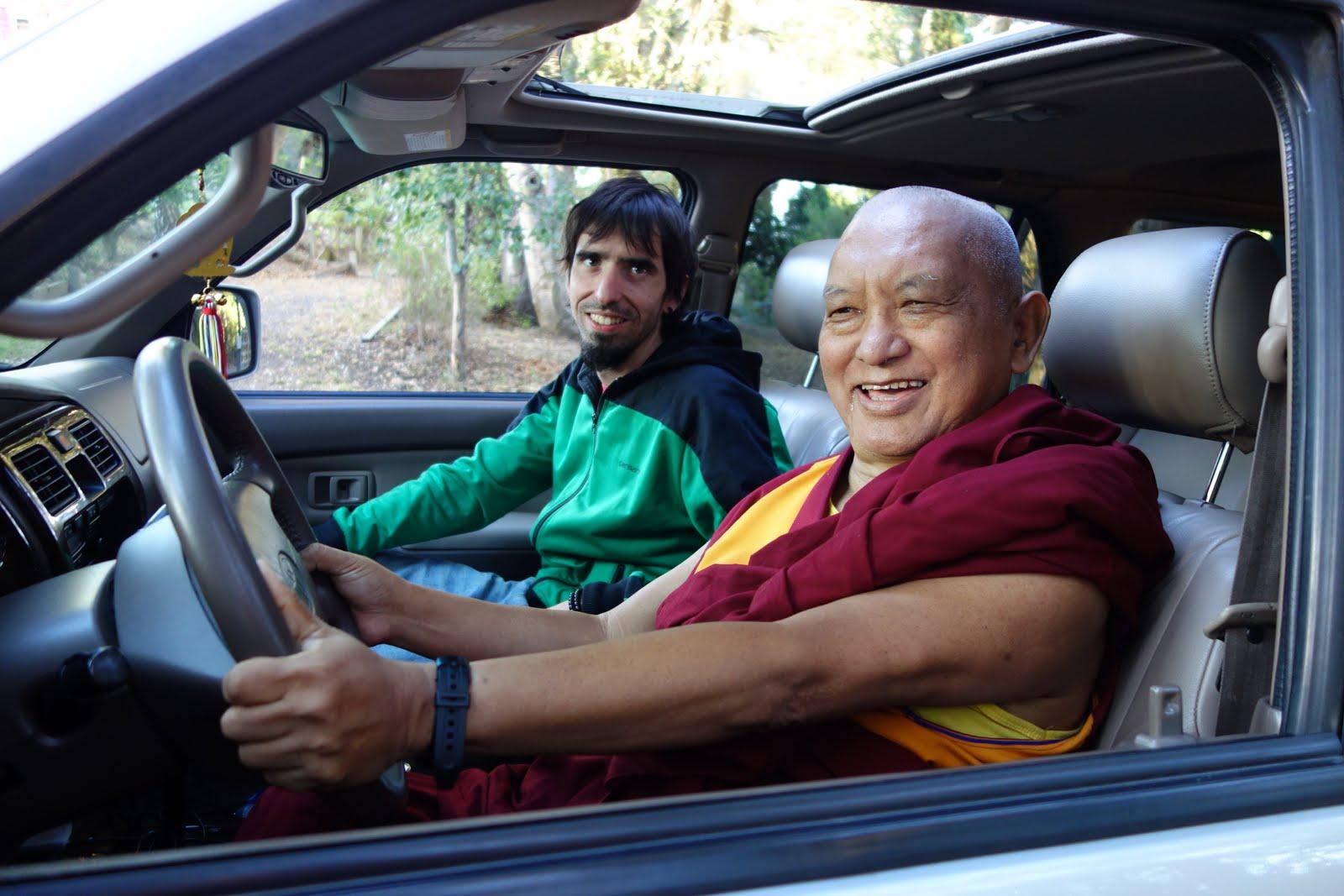 Lama Zopa Rinopche checks out Tenzin Ösel Hita's new car, Aptos, California, US, October 7, 2013. Photo by Ven. Roger Kunsang.