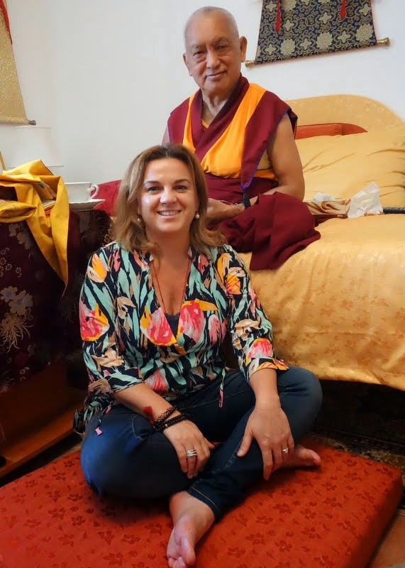 Lama Zopa Rinpoche with Lara Gatto, Italian national coordinator, Italy, June 17, 2014. Photo by Ven. Roger Kunsang.