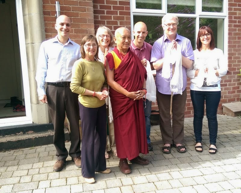 Lama Zopa Rinpoche preparing to depart from Leeds, UK, July 2014. Photo by Ven. Roger Kunsang.