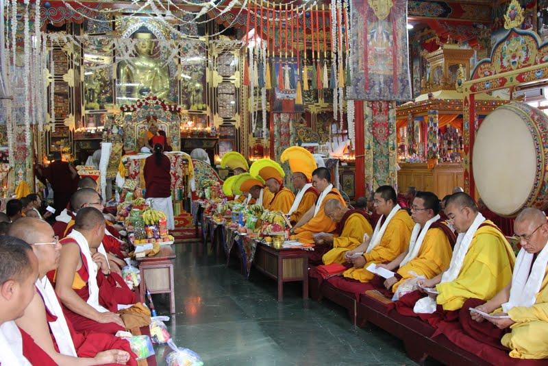 Lamas during Wangya Norbu Tangwa initations, Dheradun, 2012