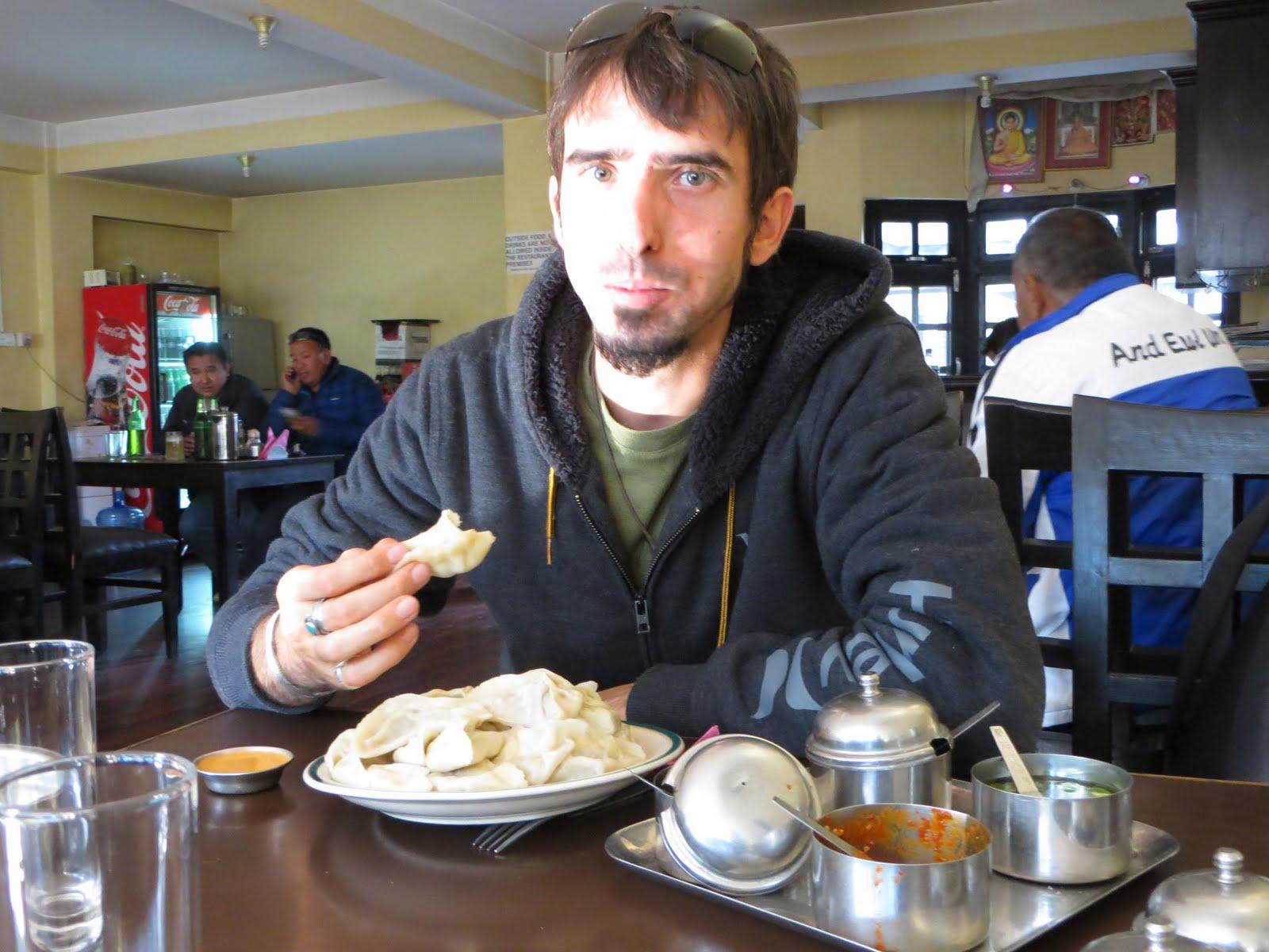 Enjoying momo's in Katmandu