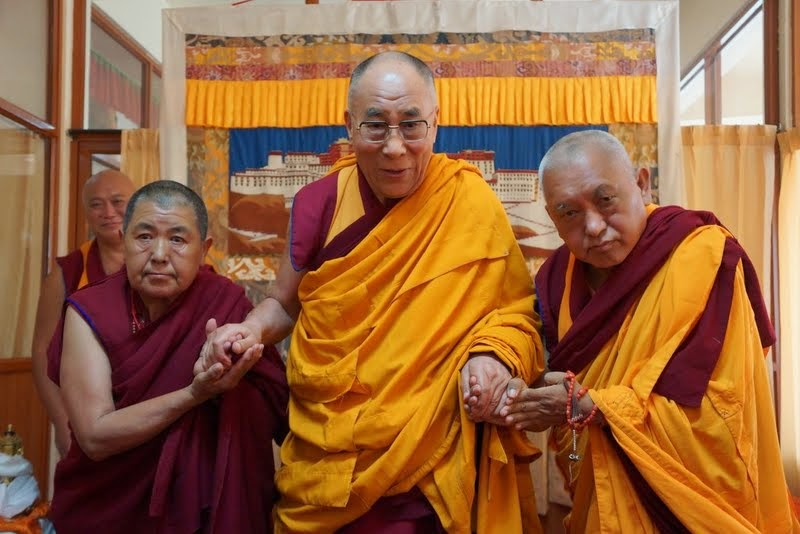 His Holiness the Dalai Lama with Lama Zopa Rinpoche and Ani Ngawang Samten, Sera Monastery, India, January 2, 2014. Photo courtesy OHHDL.