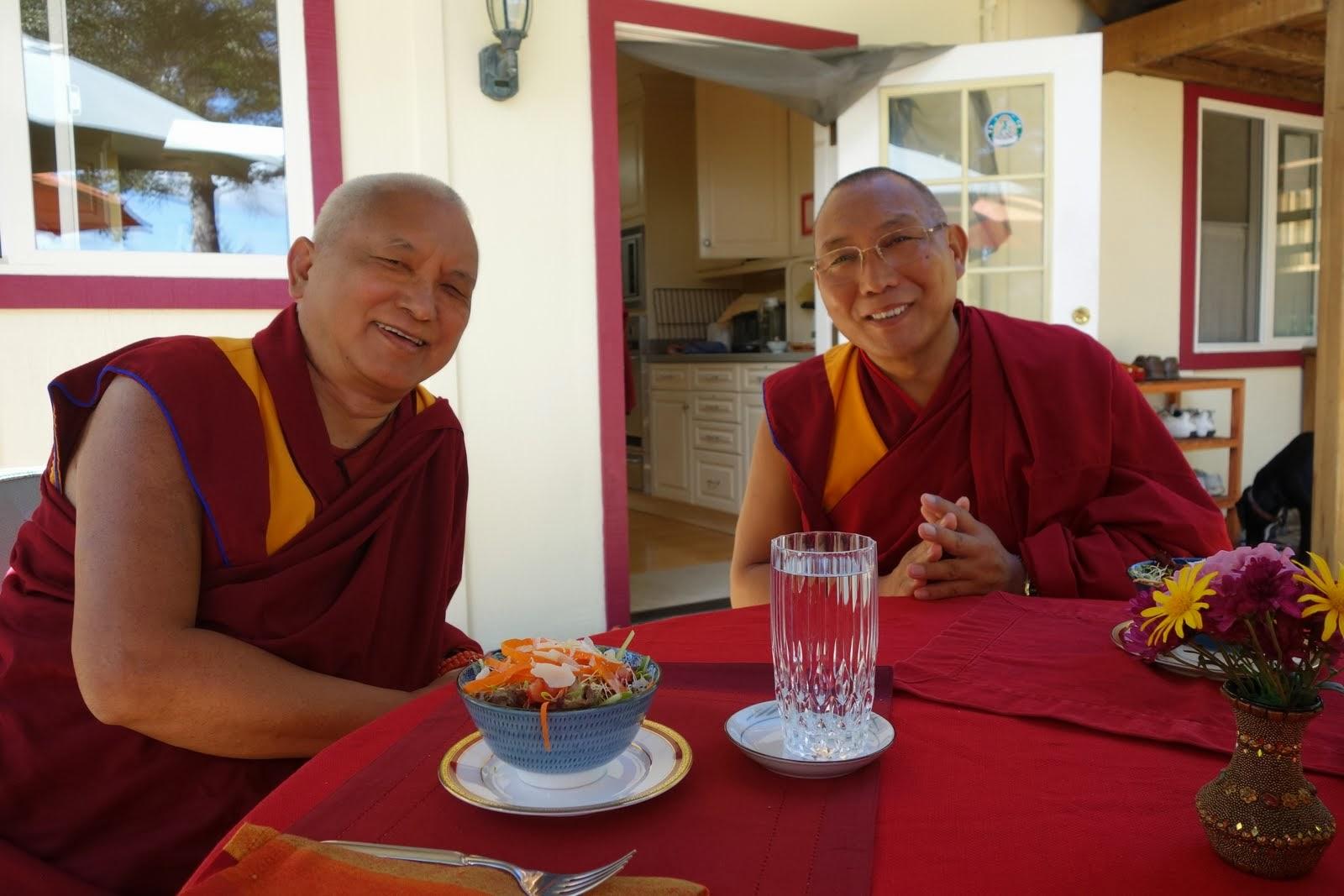 Lama Zopa Rinpoche and Dagri Rinpoche having lunch at Kachoe Dechen Ling, CA, USA Oct 2013. Photo: Ven. Roger Kunsang