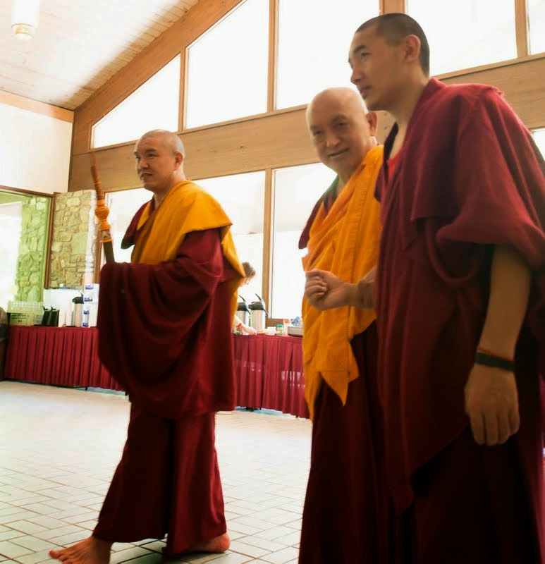 Lama Zopa Rinpoche arriving to teach at Light of the Path, May 2014. Photo by Roy Harvey.
