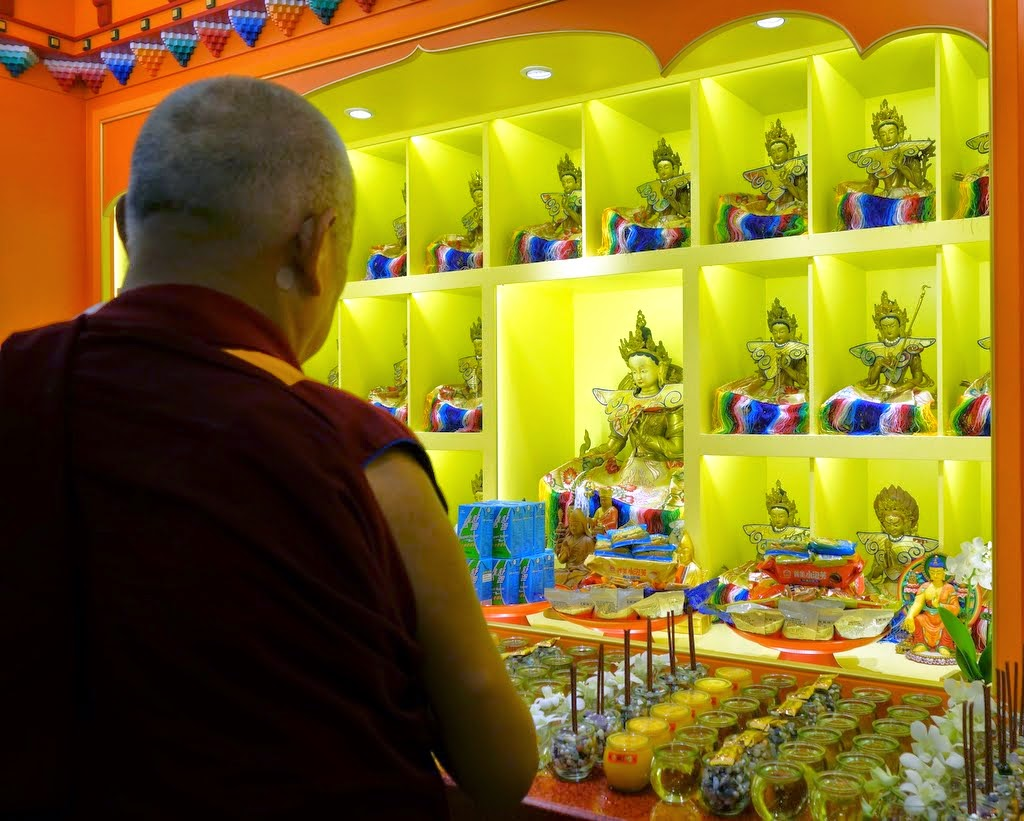Lama Zopa Rinpoche at the Jinsiu Farlin in Taipei, Taiwan, March 2014. Photo by Ven. Roger Kunsang. Jinsiu Farlin just completed an extensive renovation. Rinpoche was there to open the center.
