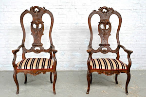 """Два кресла в стиле Чипэндэйл"""" 19-й век. 65/55/132 см. 2500 евро."""