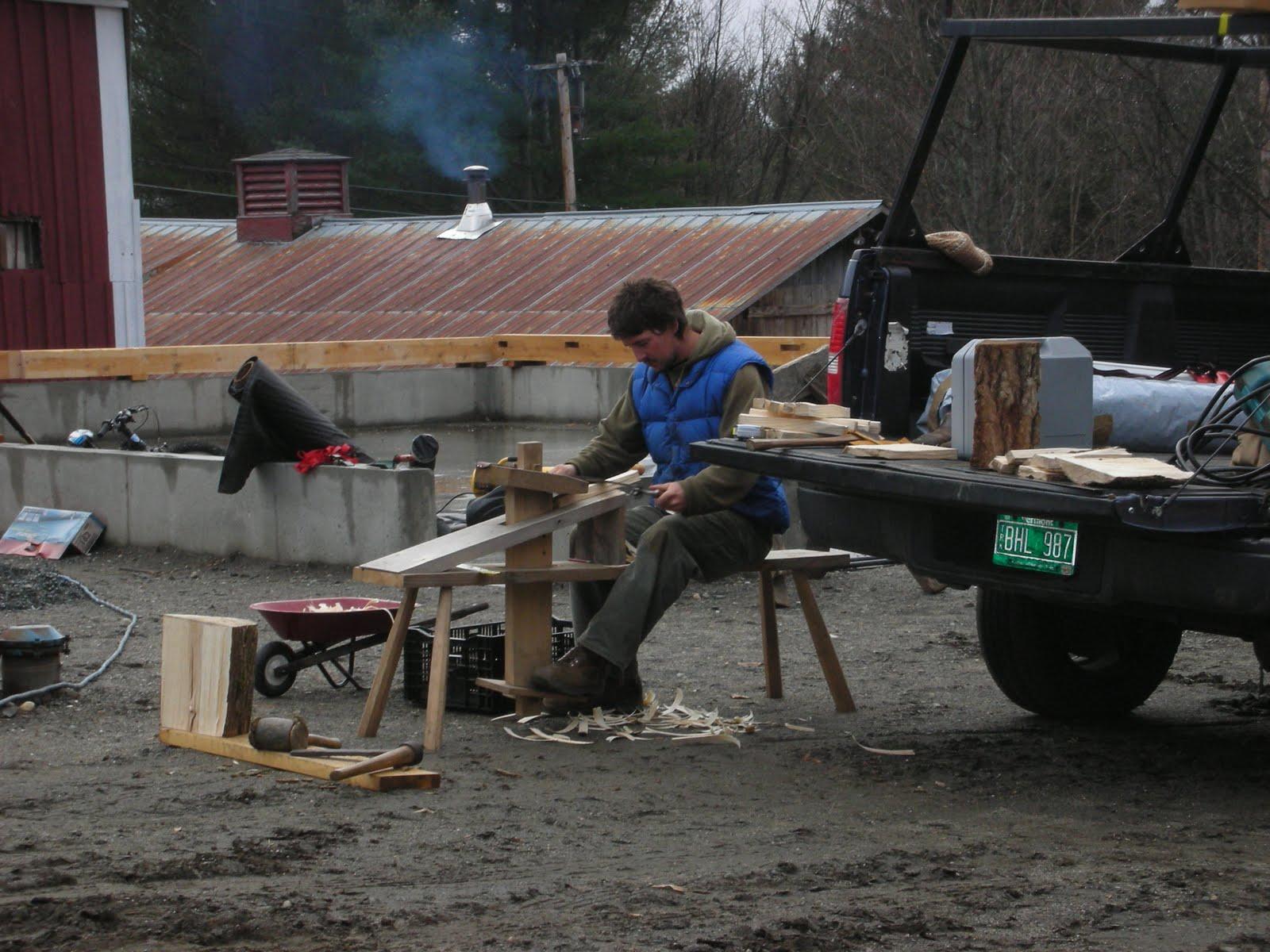 Seth Kelley making oak pegs for the frame.