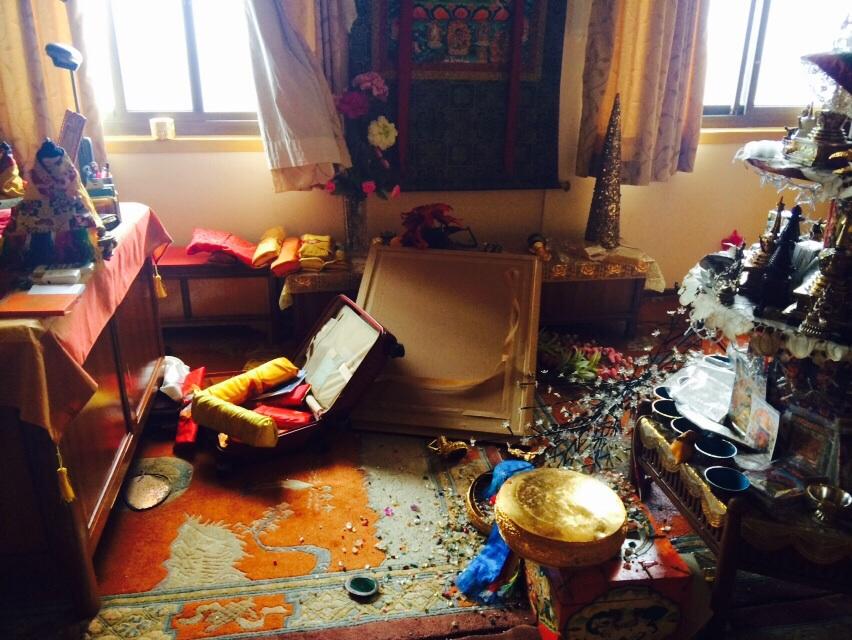 Damage inside Lama Zopa Rinpoche's room, Kopan Monastery.