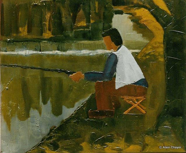 038 - Le Pêcheur au Gilet - 1993 55 x 46 - Acrylique sur toile