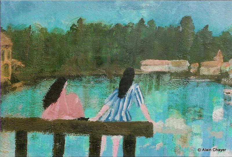 008 - Le Lac - 1991 92 x 65 - 30 P - Acrylique sur toile
