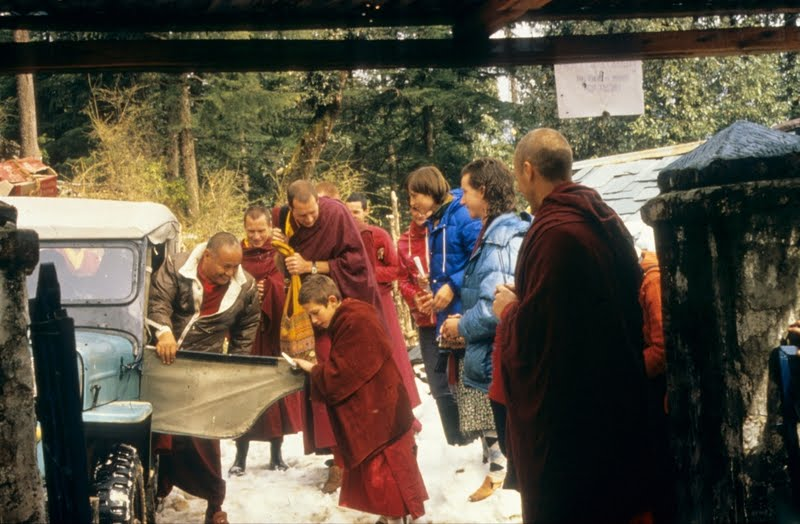Wangchuk Meston greets Lama Yeshe at Tushita Retreat Centre, McLeod Ganj, India, c. 1978