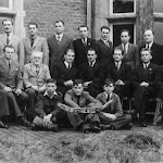 Upton Lodge, 1949 - Ukrainian refugees. Capt J L Fry seated third from left.