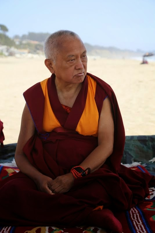 Lama Zopa Rinpoche on the beach near Aptos, California, US, May 2014. Photo by Ven. Thubten Kunsang.
