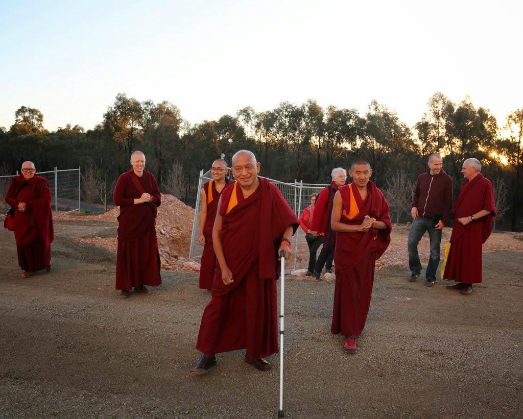 Lama Zopa Rinpoche circumambulating the Great Stupa of Universal Compassion, Australia, September 12, 2014. Photo by Ven. Thubten Kunsang.