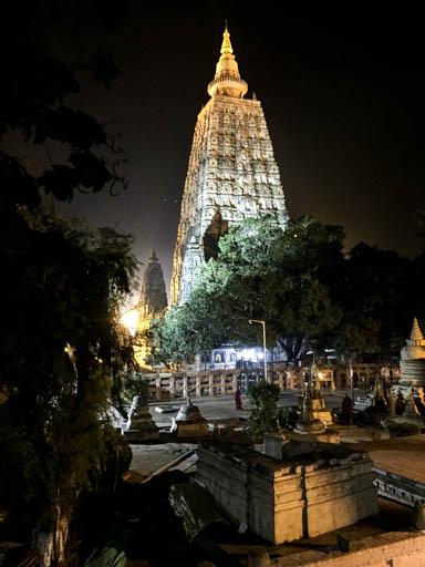 Mahabodhi Stupa at night, February 2015. Photo by Ven. Roger Kunsang.