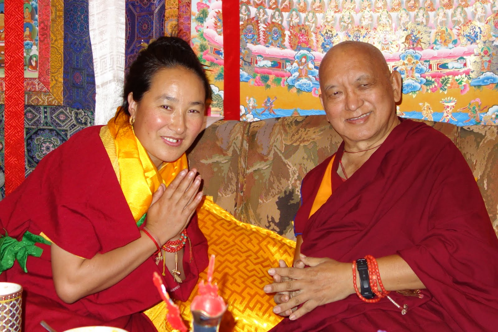 Rinpoche and Khadro-la discussing at Kopan Monastery. Photo Ven. Roger Kunsang