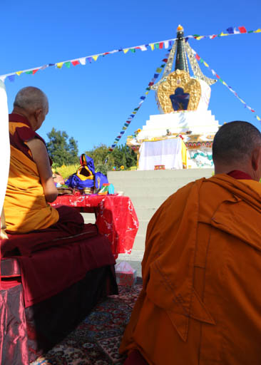 Lama Zopa Rinopche and New Zealand geshes consecrating the rebuit stupa at Mahamudra Centre, New Zealand, May 2015. Photo by Ven. Thubten Kunsang.