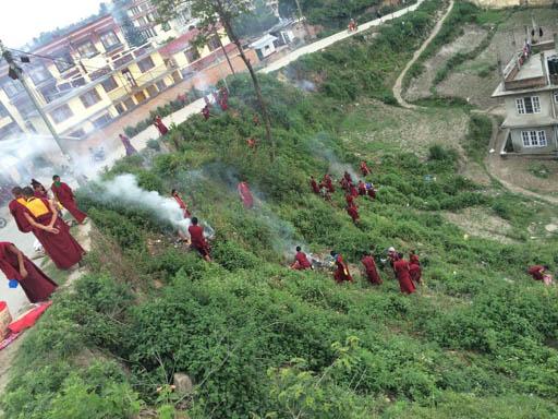 Kopan monks getting to work after the earthquake, Kathmandu, Nepal, April 2015