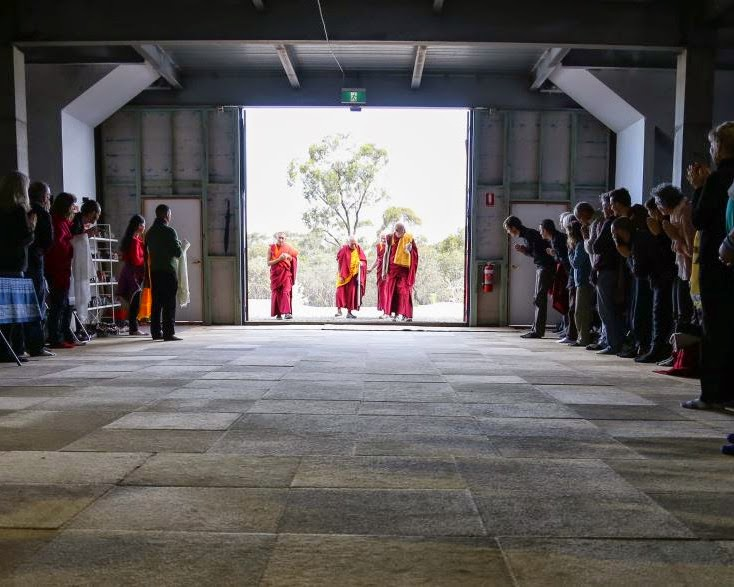 Lama Zopa Rinpoche entering the Great Stupa of Universal Compassion during the retreat in Australia, October 2014. Photo by Ven. Thubten Kunsang.