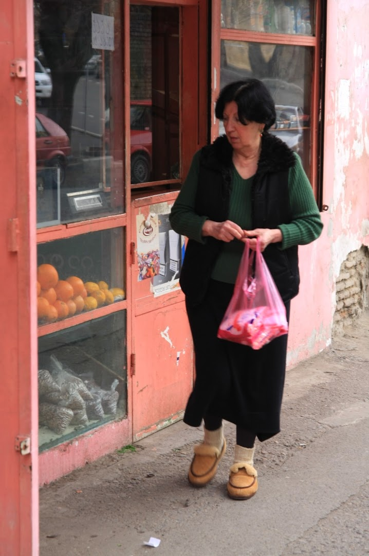 Locals like to go shopping in slippers
