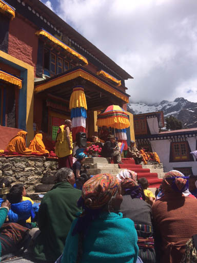 Lama Zopa Rinpoche giving Amitabha long life initiation at Lawudo Retreat Centre to hundreds of Sherpa people from the area, Nepal, April 2015. Photo by Harry Sutton.