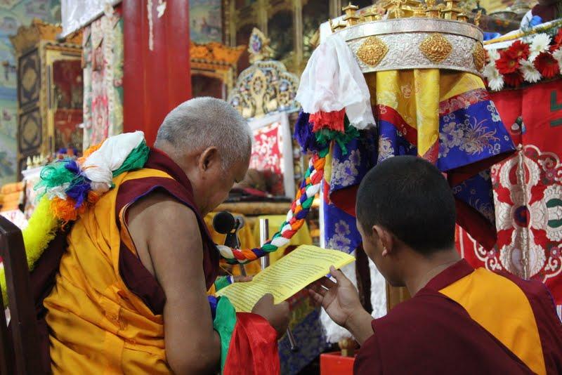 Lama Zopa Rinpoche offering mandala to His Holiness the Sakya Trizen, Dheradhun 2012
