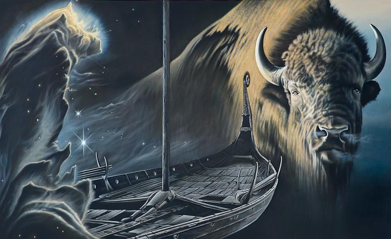 Teil 3 von Blicke in Wirklichkeit, Mythos und die Fahrt in das Geheimnis der Ewigkeit 2013 Oel auf Leinwand 180x800cm