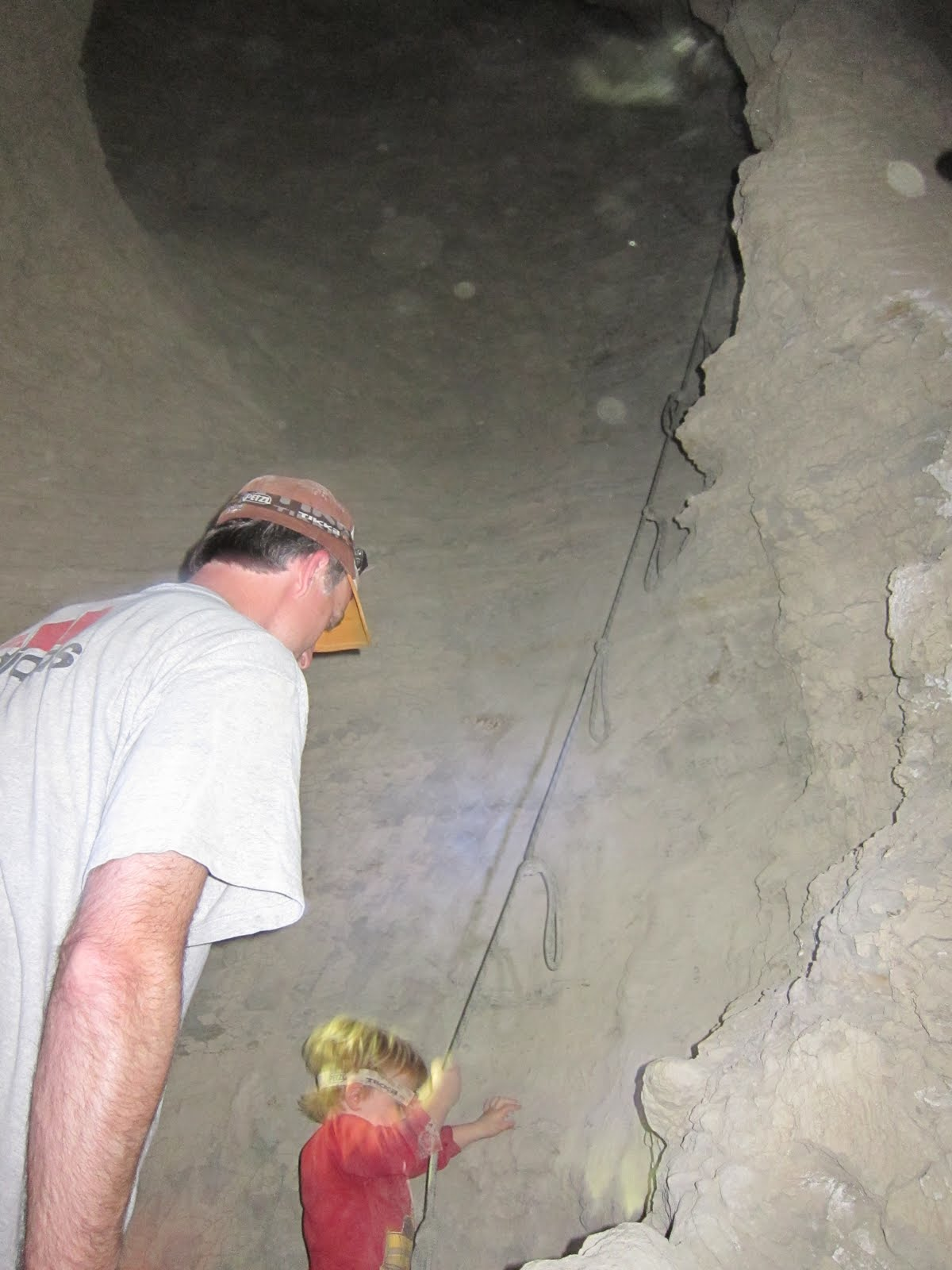 """Austin gives the rope a try in """"Hidden Cave"""""""