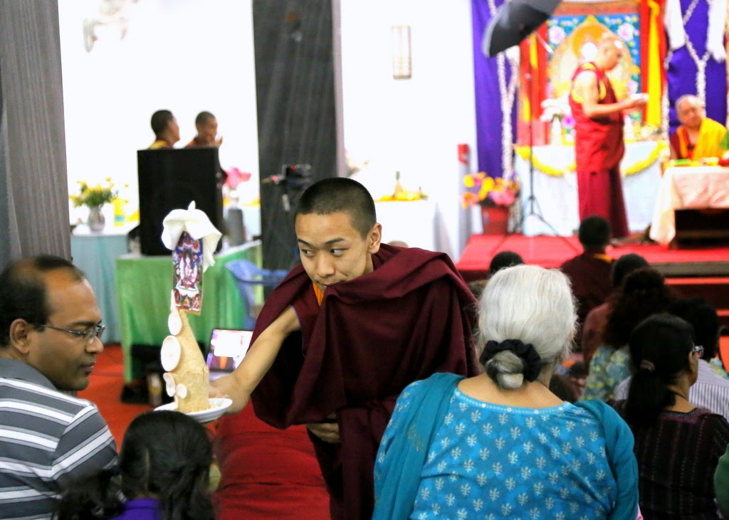 Cherok Lama during White Tara initiation, Bangalore, India, 2014. Photo by Ven. Thubten Kunsang.