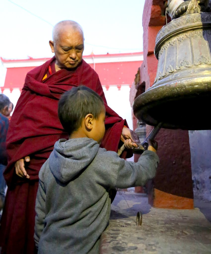 Lama Zopa Rinpoche at Boudhanath, Nepal, December 2014. Photo by Ven. Thubten Kunsang.
