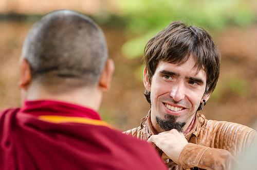 Tenzin Ösel Hita speaking with Ven. Pemba Sherpa, Land of Medicine Buddha, California, September 21, 2013. Photo by Chris Majors