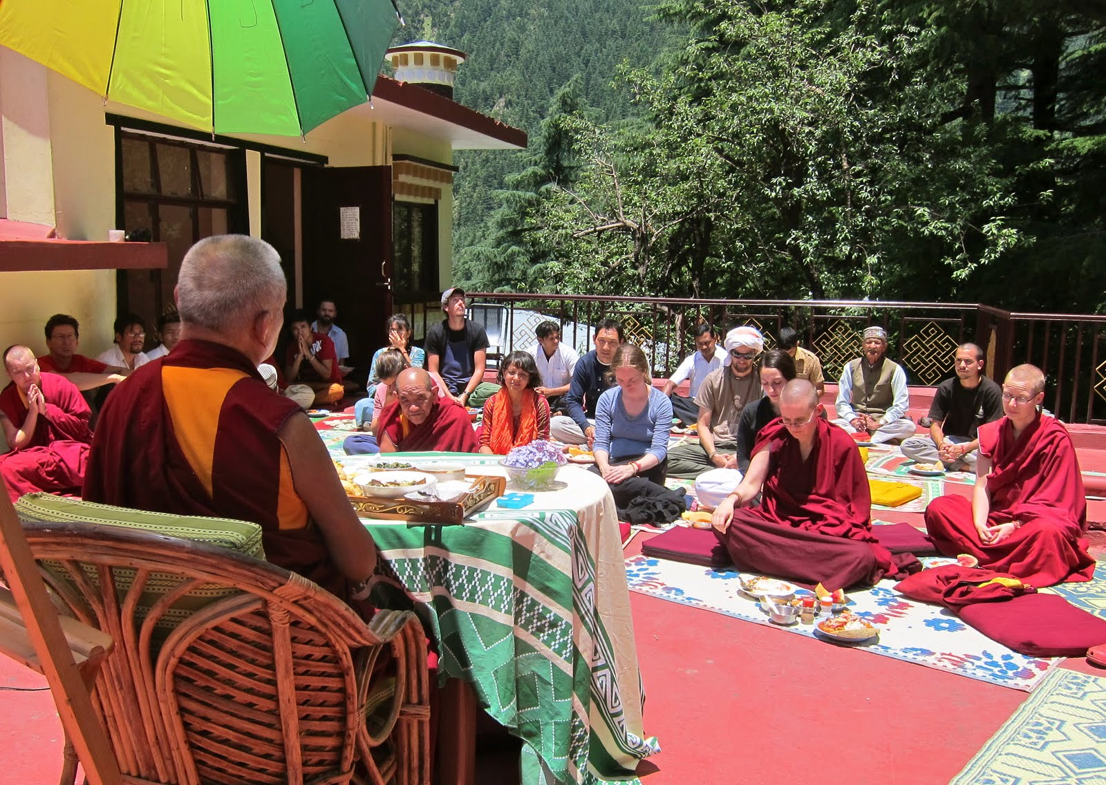 Rinpoche had lunch with Tushita staff on the roof of the gompa, Tushita. June 18, 2013 Photo. Ven.Sarah Thresher