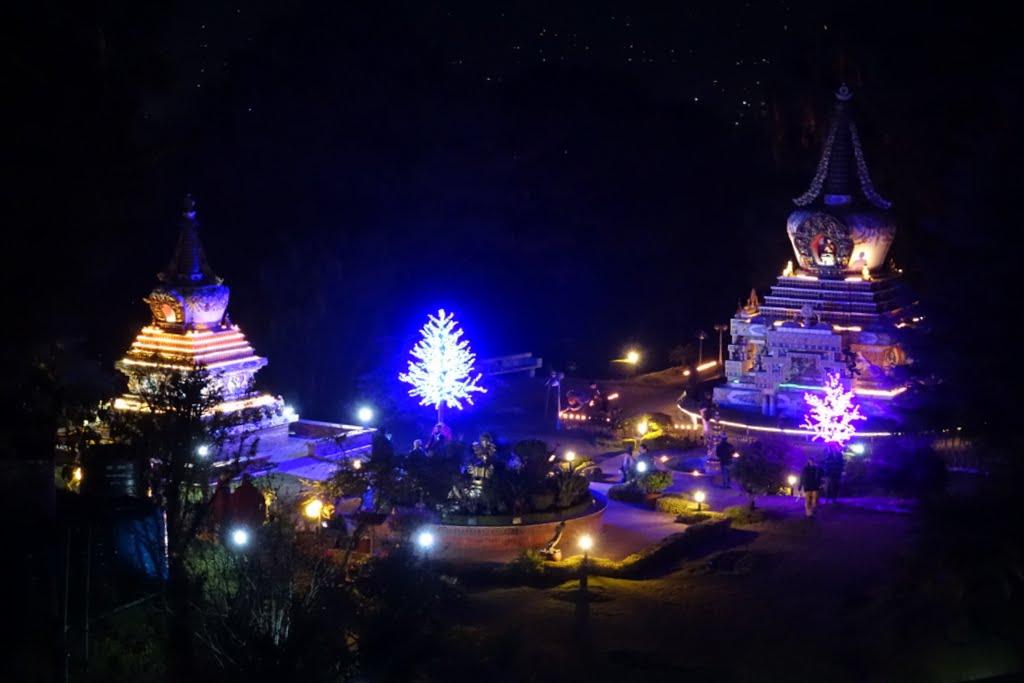 Light offerings in the Garden of Enlightenment at Kopan Monastery, December 2014. Photo by Ven. Roger Kunsang.