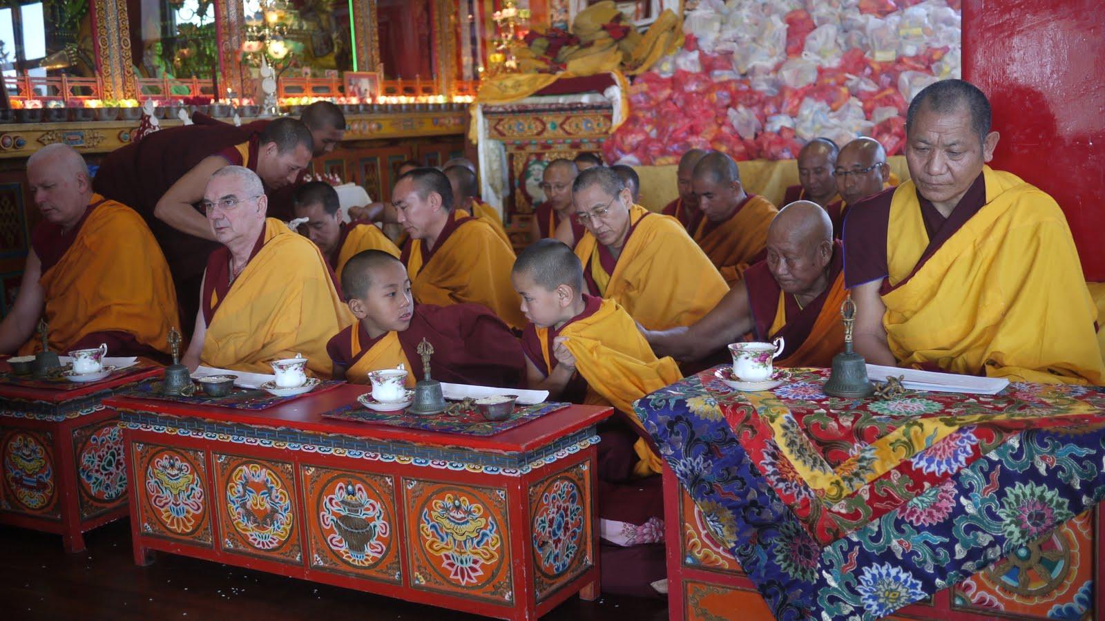 Ven. Steve, Ven.Roger Kunsang and young tulkus at long life puja, Kopan Monastery Dec 2010 .