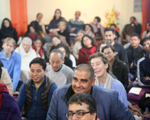 Students listen to Lama Zopa Rinpoche teaching, Delhi, India, January 2015. Photo by Ven. Thubten Kunsang.