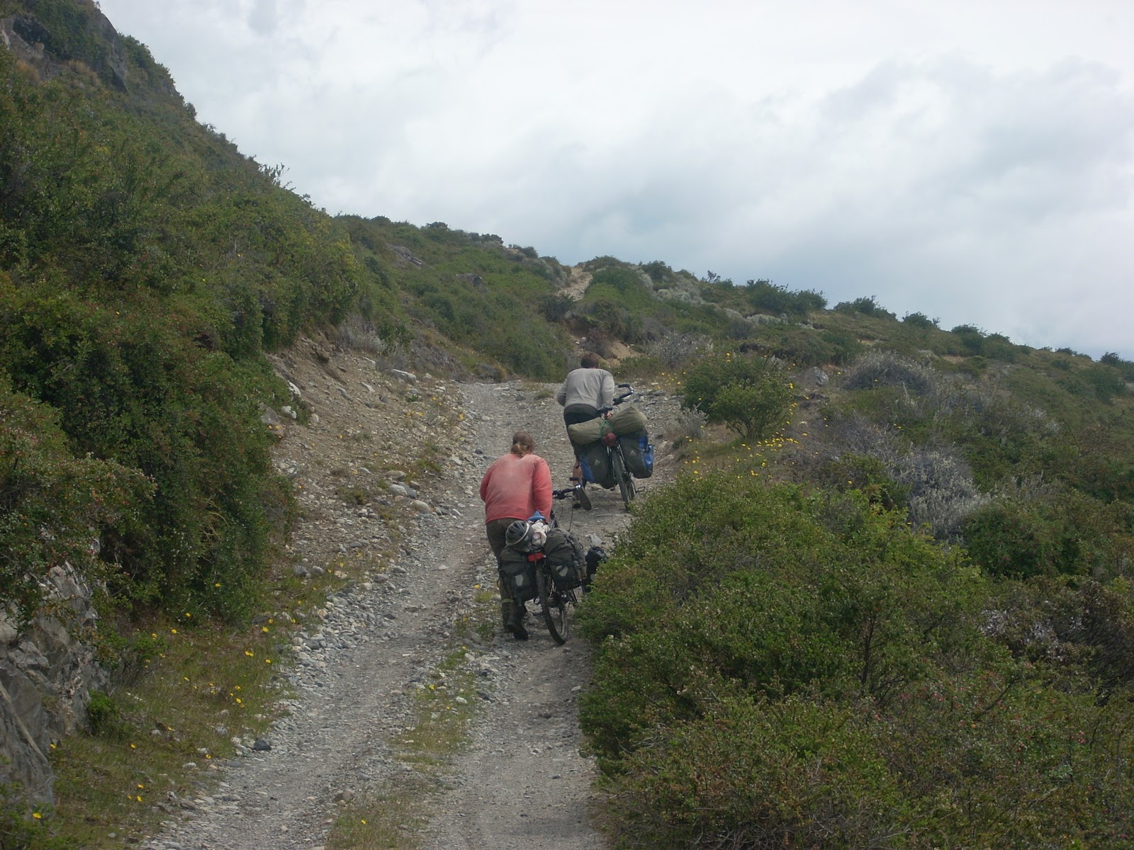This was actually an easy part. Note the wide, dry road, even if we did have to push