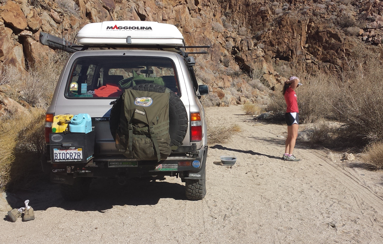 We parked the Land Cruiser and prepped for the hike up the remote canyon.