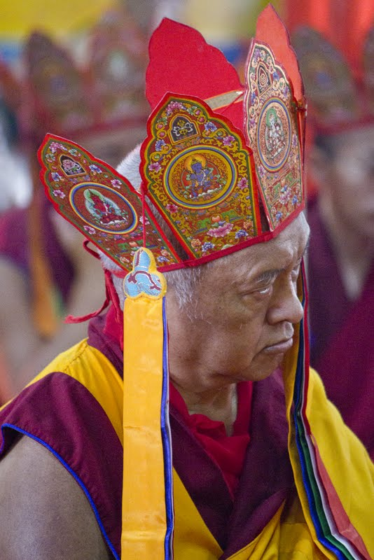 Lama Zopa Rinpoche during Wangya Norbu Tangwa initations, Dheradun, 2012. Photo by Sakya Drolma Phodrang
