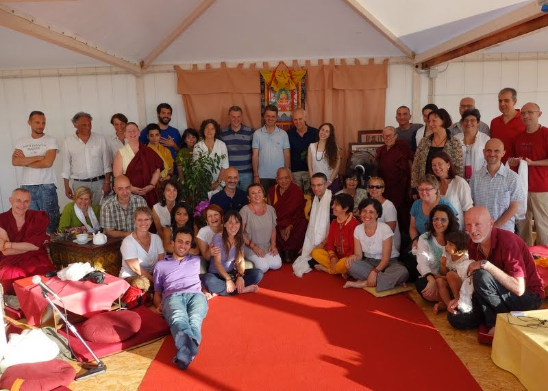 Lama Zopa Rinpoche with Italian center directors and board members, Italy, June 2014. Photo by Ven. Roger Kunsang.