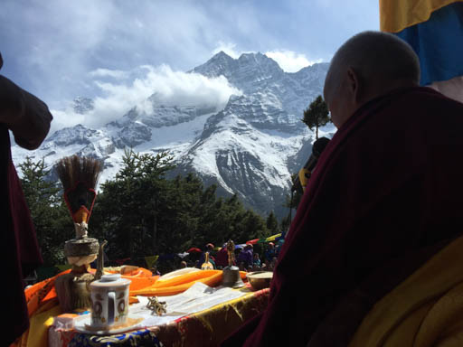 Lama Zopa Rinpoche during the  Amitabha long life initiation at Lawudo Retreat Centre, Nepal, April 2015. Photo by Ven. Roger Kunsang.