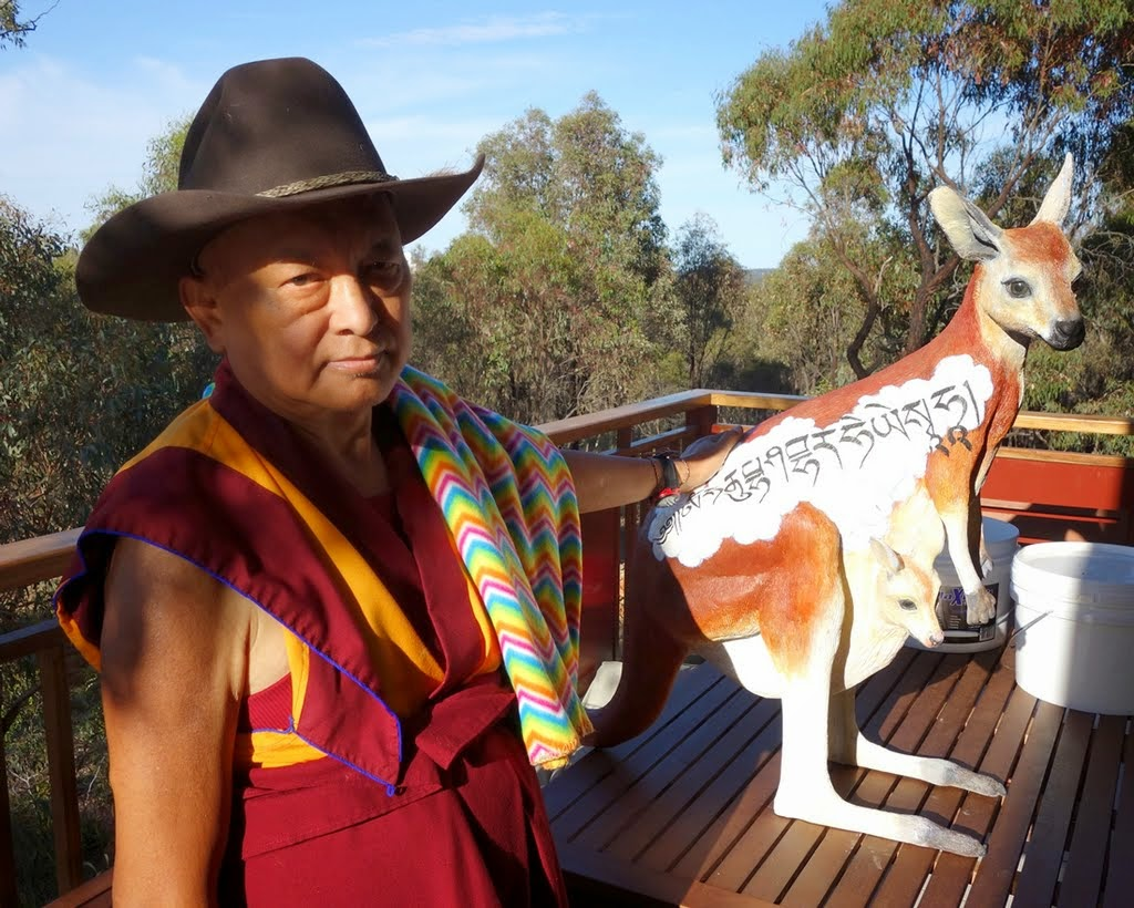 Lama Zopa Rinpoche in Oz, Thubten Shedrup Ling Monastery, Bendigo, Australia, October 2014. Photo by Ven. Roger Kunsang.