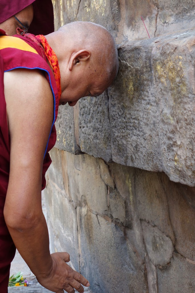 Lama Zopa Rinpoche making prayers at the stupa at Sarnath, India, March 2014. Photo by Ven. Roger Kunsang.