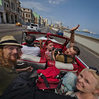 Compulsory touristy open-top ride along Malecón, Havana