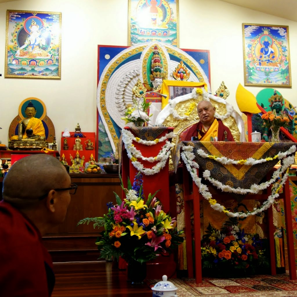 Lama Zopa Rinpoche at Chenrezig Institute, Eudlo, Queensland, Australia, September 2014. Photo by Ven. Roger Kunsang.