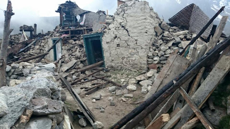 Destruction in Solu Khumbu. Photo by Charok Lama
