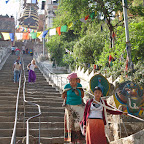 Ascending to Swayambhunath stupa