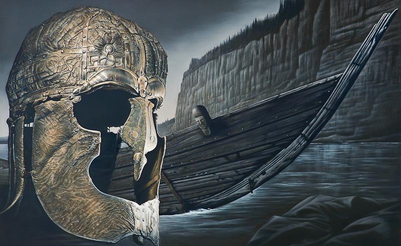 Teil 1 von Blicke in Wirklichkeit, Mythos und die Fahrt in das Geheimnis der Ewigkeit 2013 Oel auf Leinwand 180x800cm